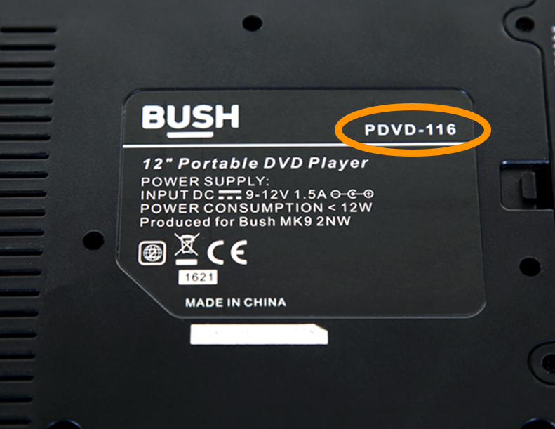 A Bush DVD label showing the product number